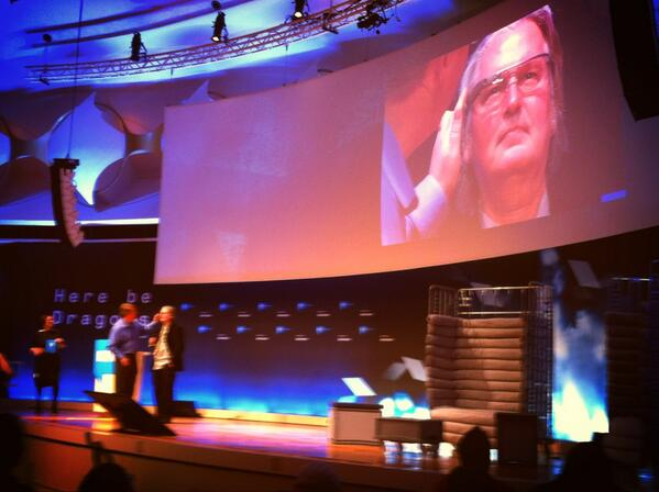 "Bruce Sterling dons Google Glass: ""This is very '80s"" he is reported to have said."