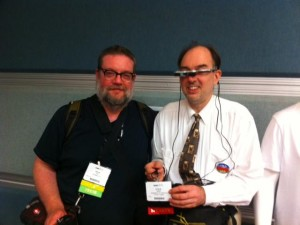 Myself (without wearable) with Steve Mann when I interviewed him at the AWE2013 Conference, Santa Clara.