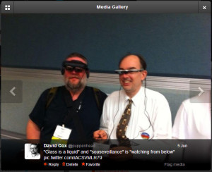 Myself with Steve Mann (both with wearables), from my Twitter feed, at the AWE2013 Conference, Santa Clara.