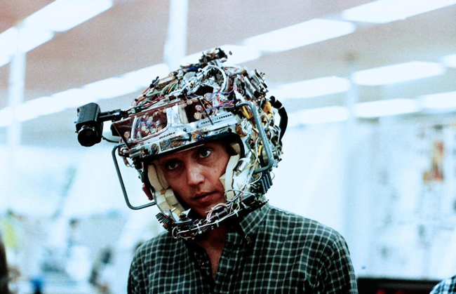 Heads-up! 1982 Douglas Trumbull film Brainstorm. A lovely parable about hackers overcoming militarists for control of a new technology of great promise for the future of the imagination. Chrisopher Walken dons the early version of the Brainstorm Headset.